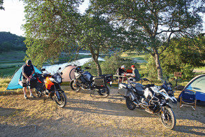 Motorcycle camping with a group of biker friends