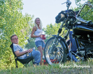Motorcycle camping and dinner
